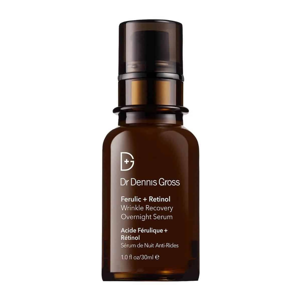 Amber bottle of retinol serum by Dr. Dennis Gross.