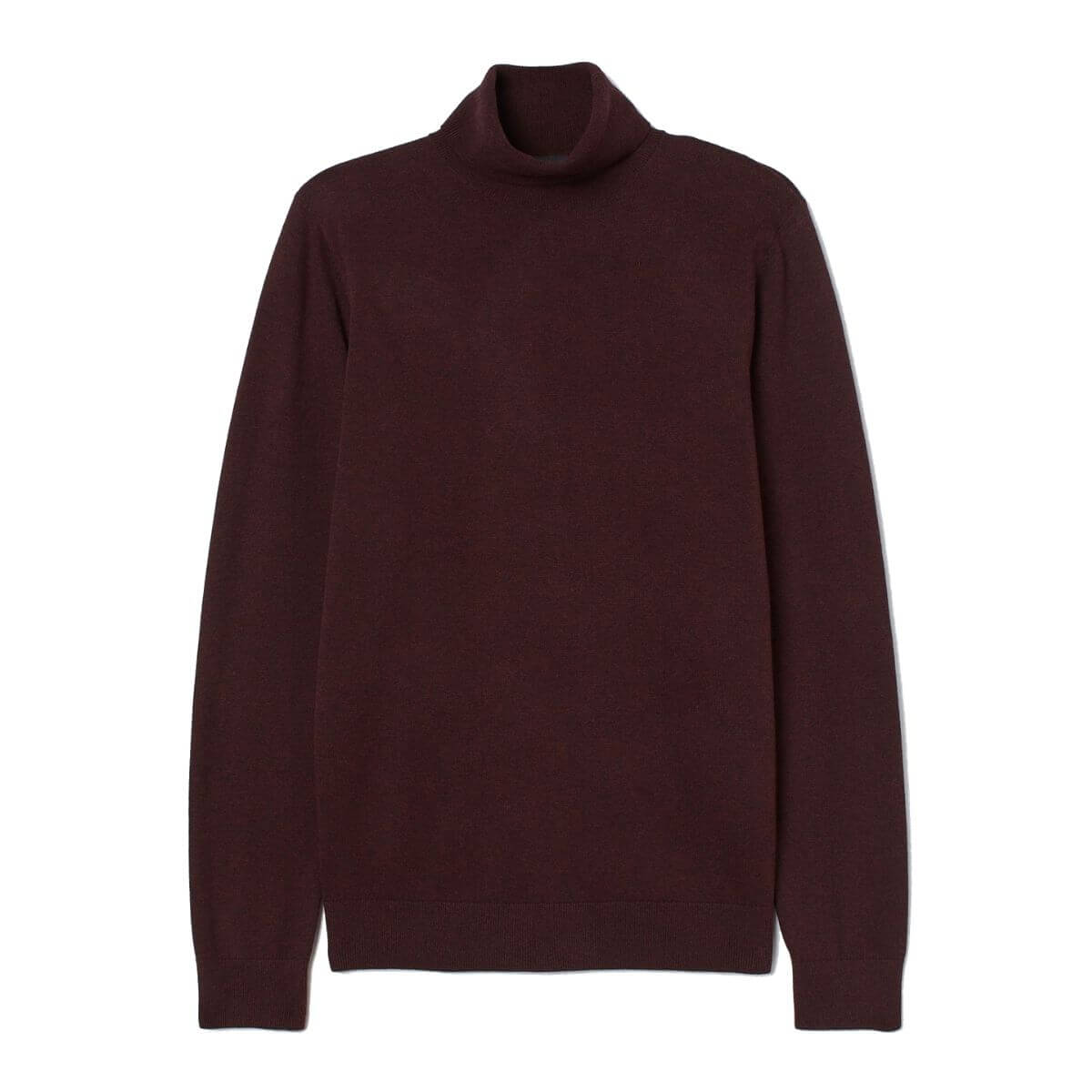 Burgundy turtleneck sweater.