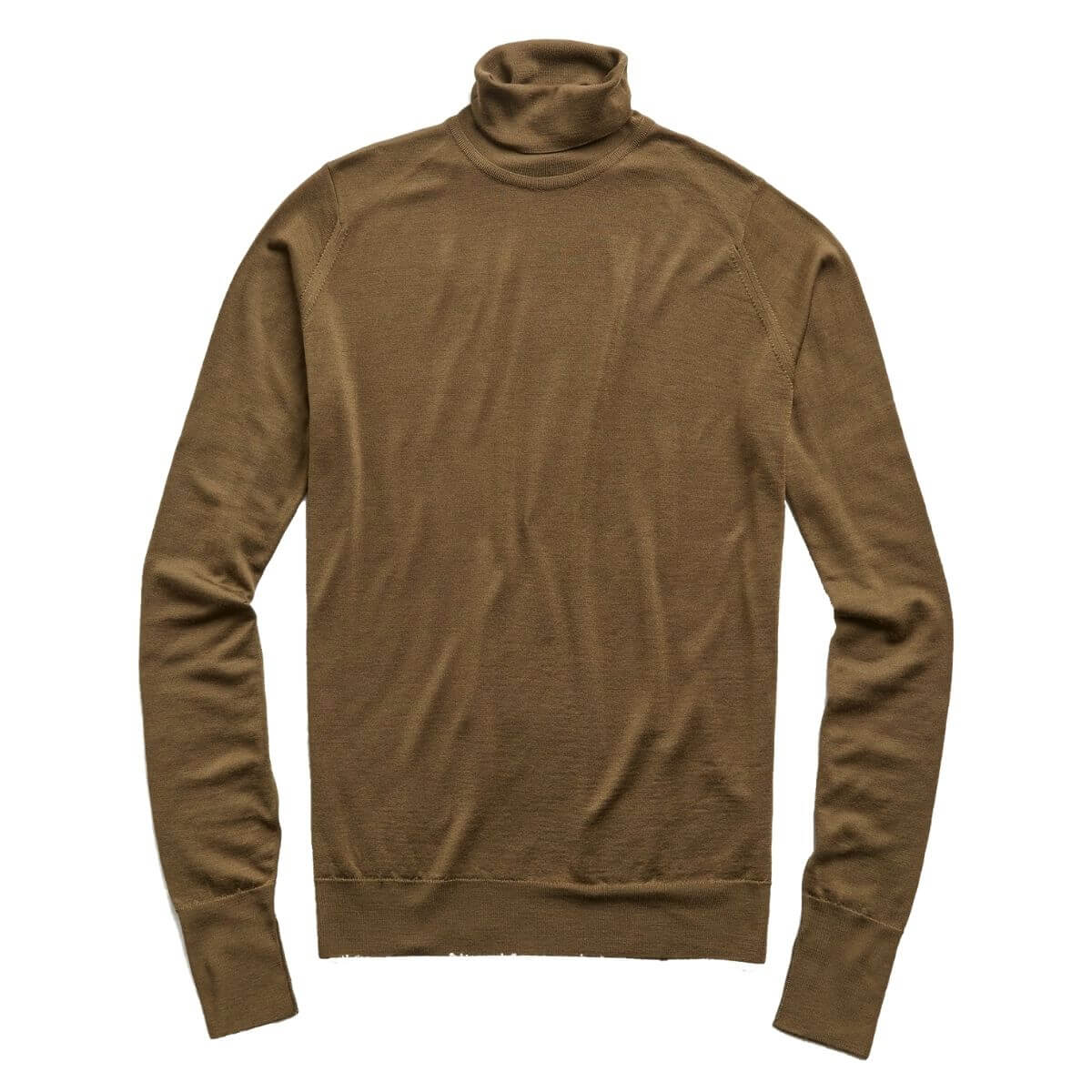 Dark khaki turtleneck sweater.