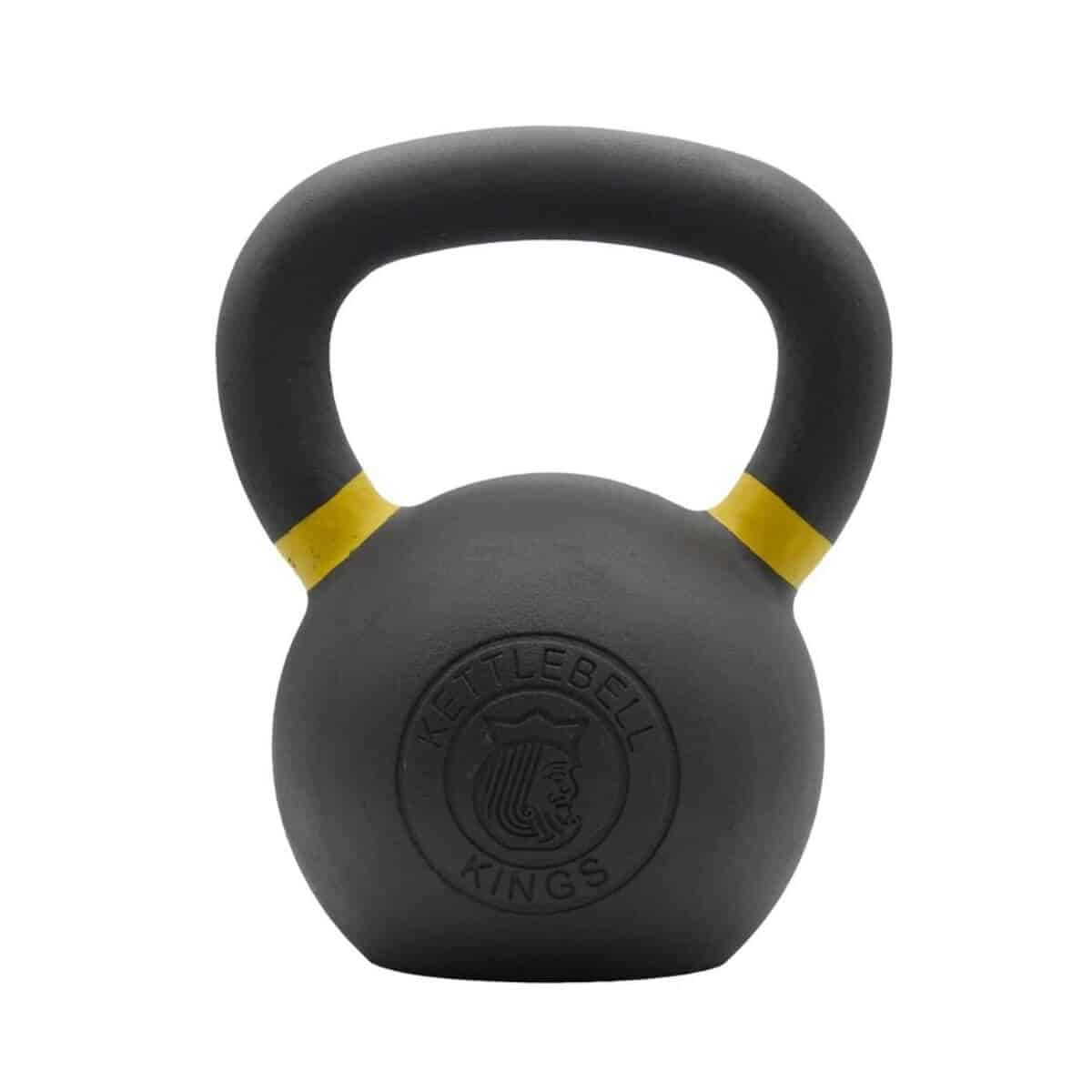 Black kettlebell with yellow rings.