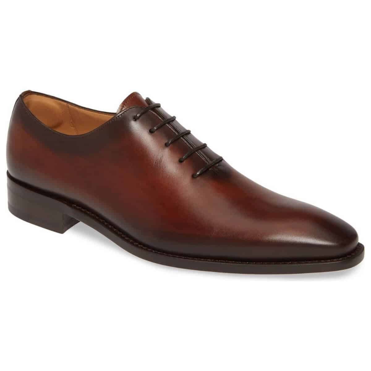 Cognac leather wholecut Oxford shoe.