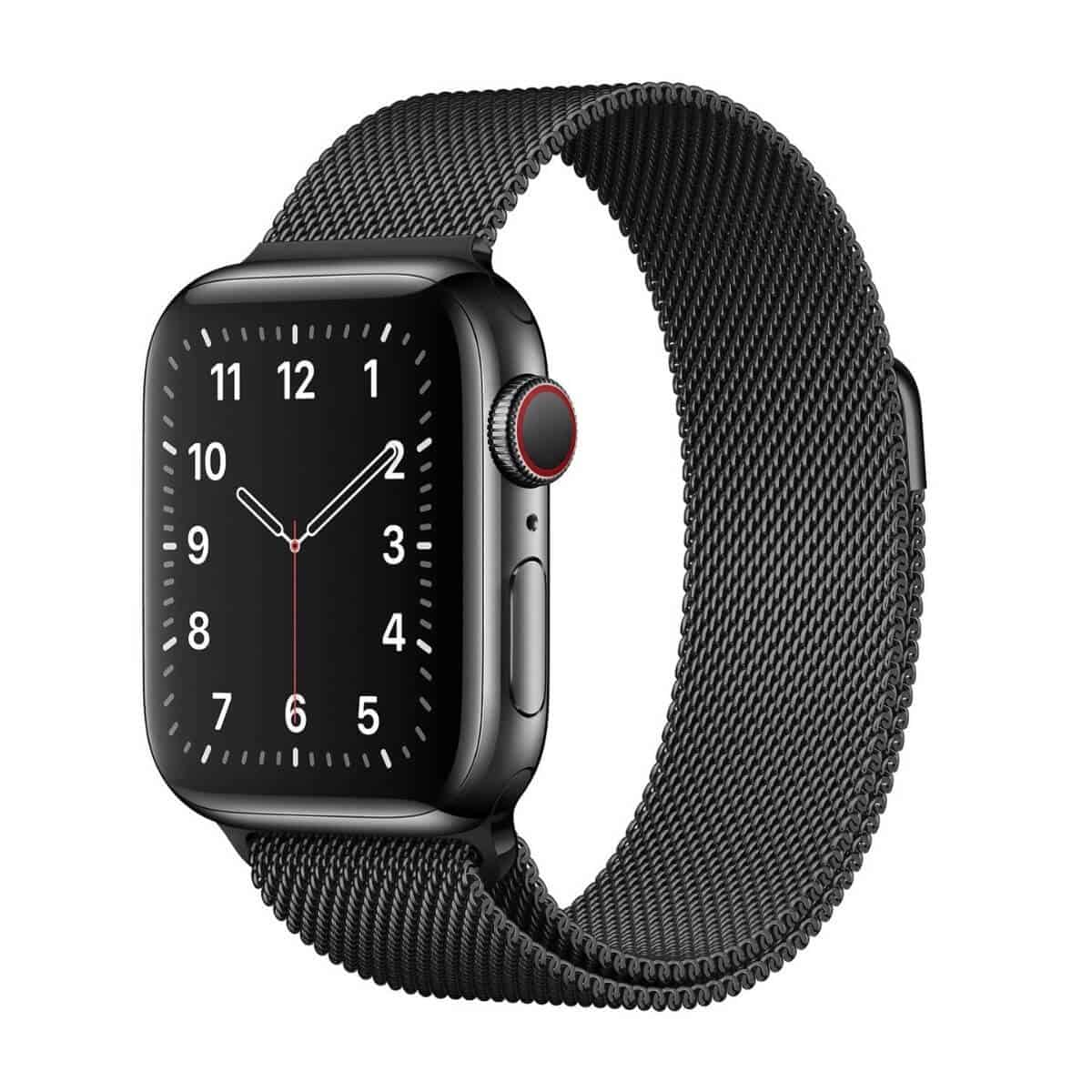 Apple Watch with a black Milanese Loop band.