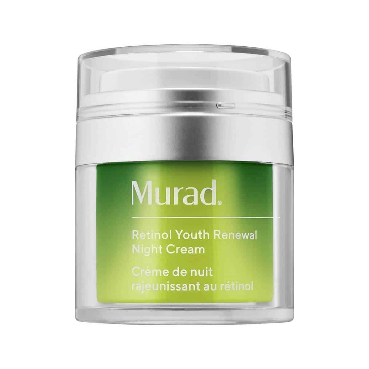 Glass container of retinol night cream by Murad.