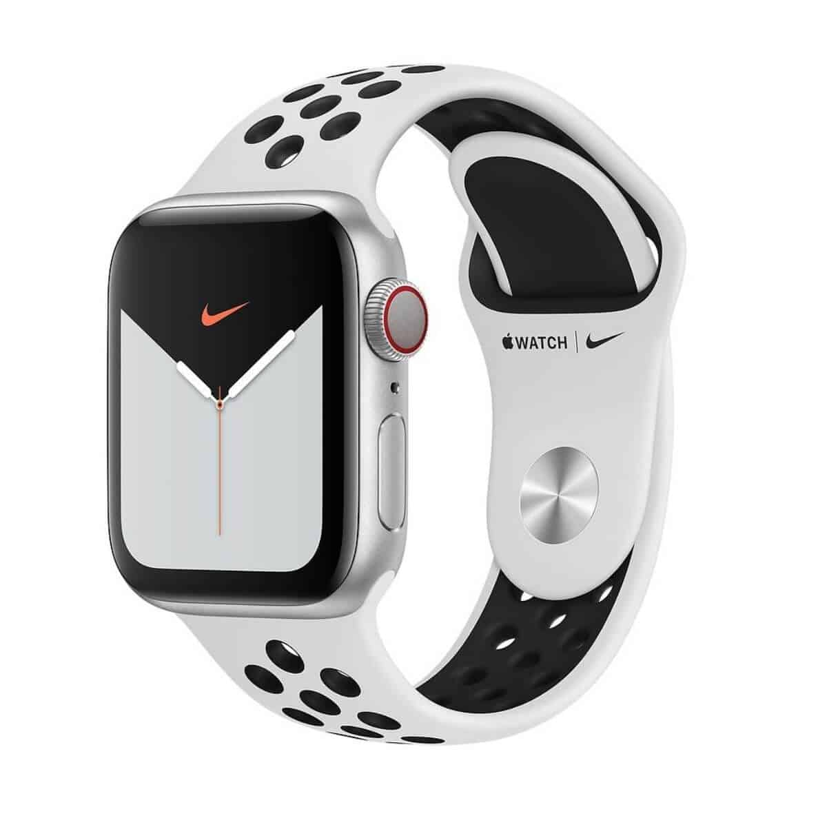 Apple Watch with a white and black Nike Sport band.