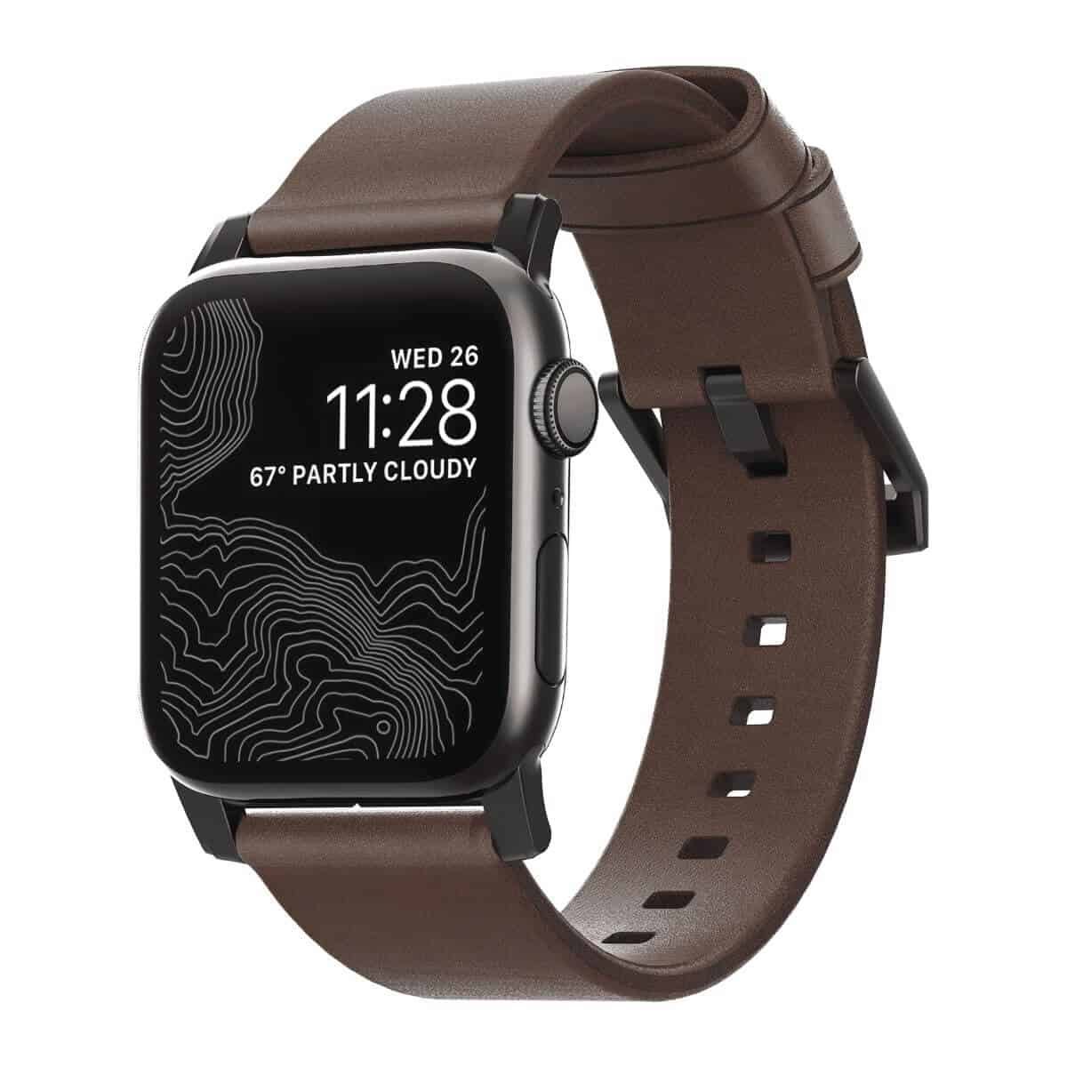 Apple Watch with a dark brown leather strap.