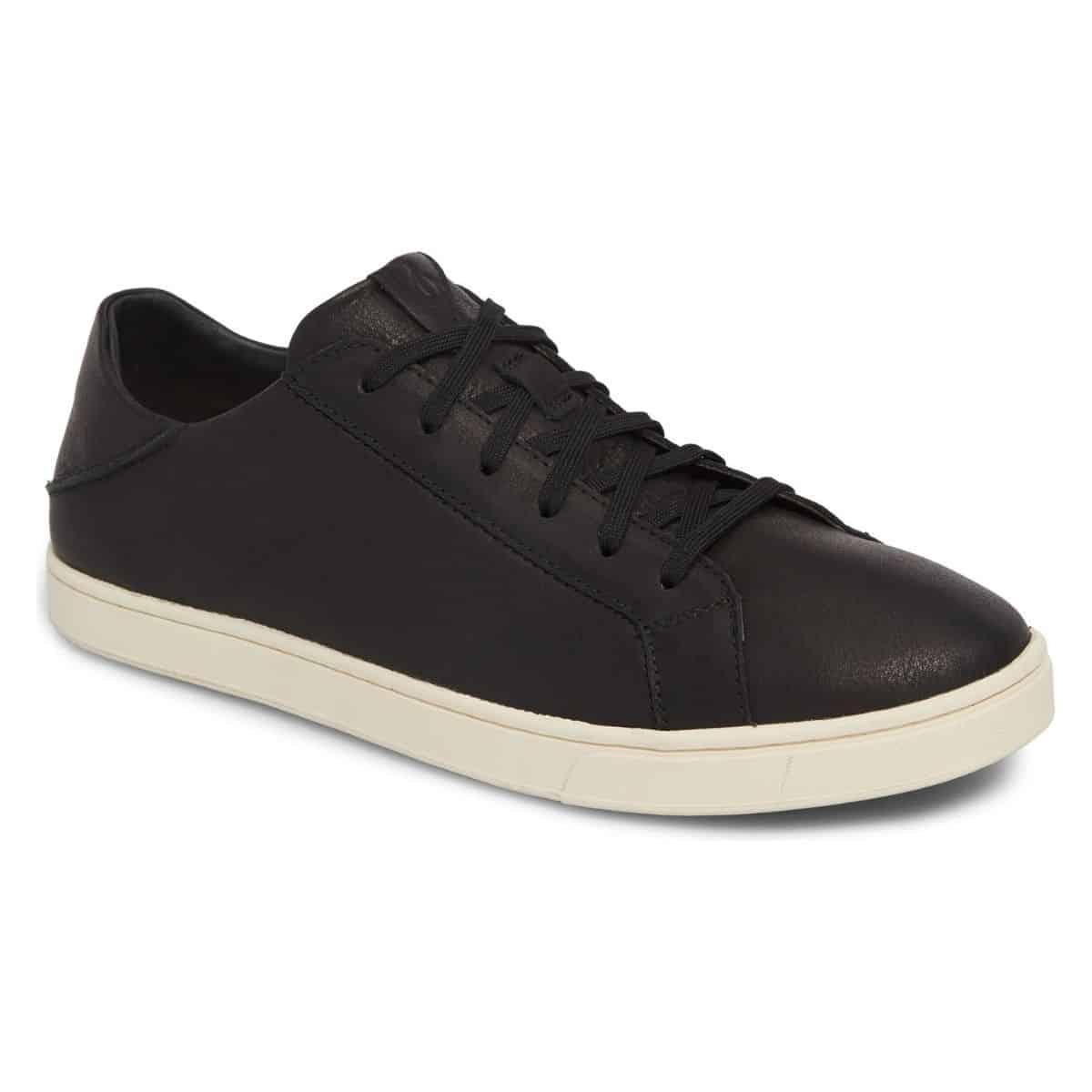 OluKai black and white leather sneaker.