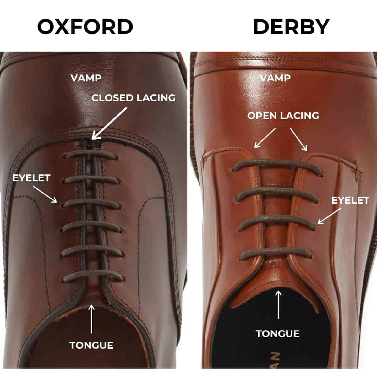 Comparison between the Oxford and the Derby shoe.