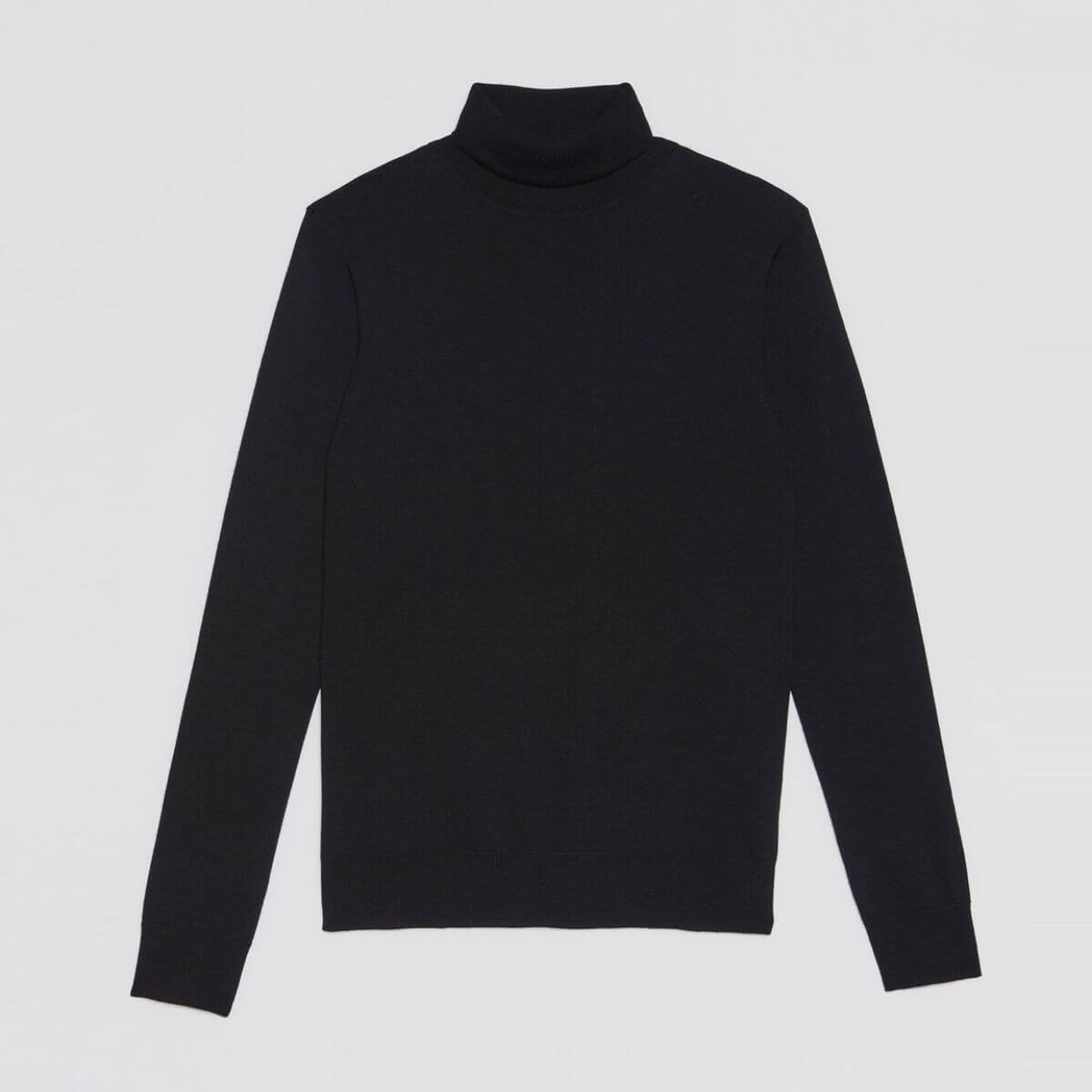 Black turtleneck sweater by Sandro Paris.