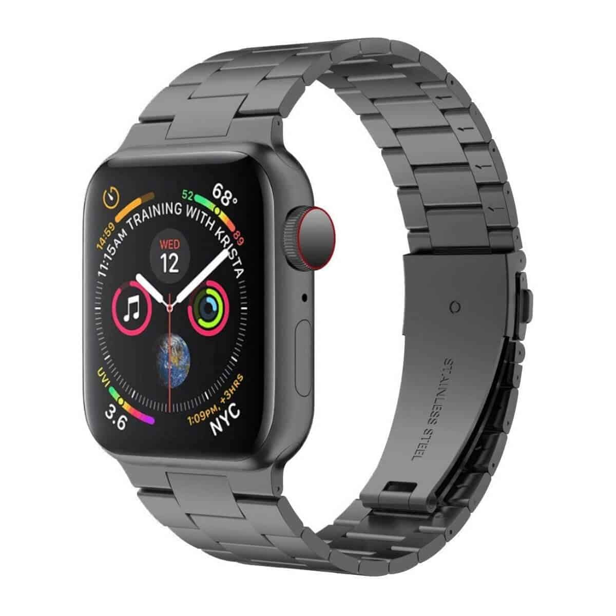 Apple Watch with a grey stainless steel band.