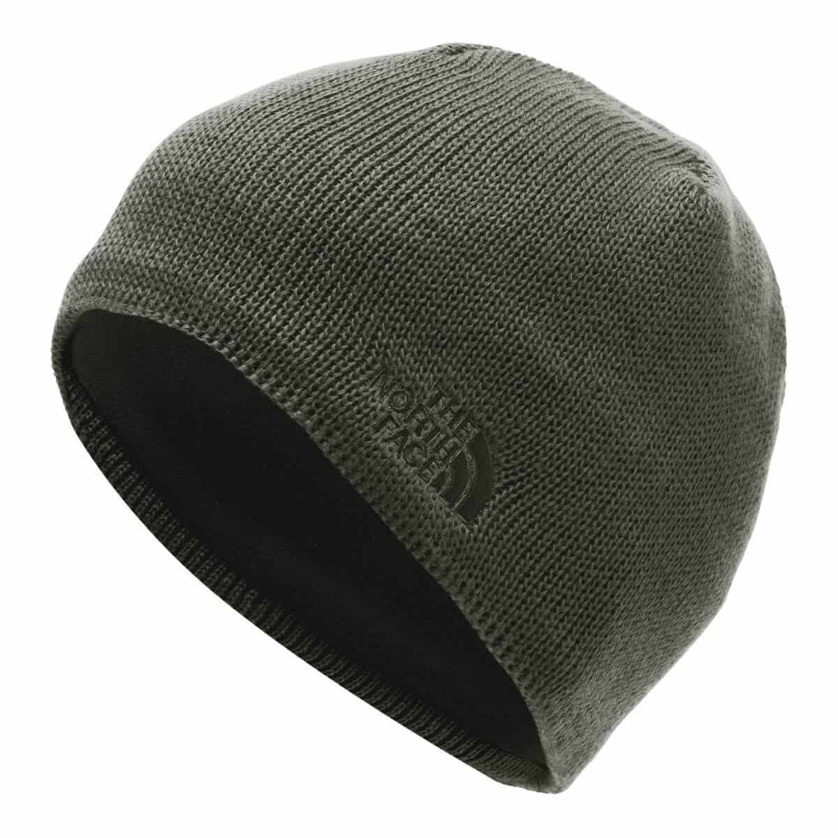 The North Face olive green beanie.