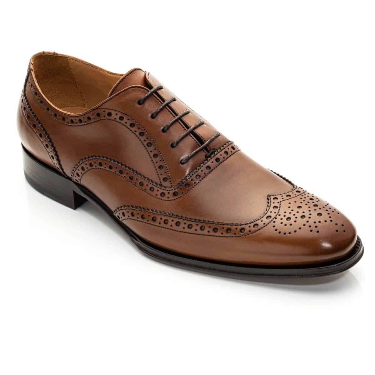 Cognac wingtip Oxford shoe.