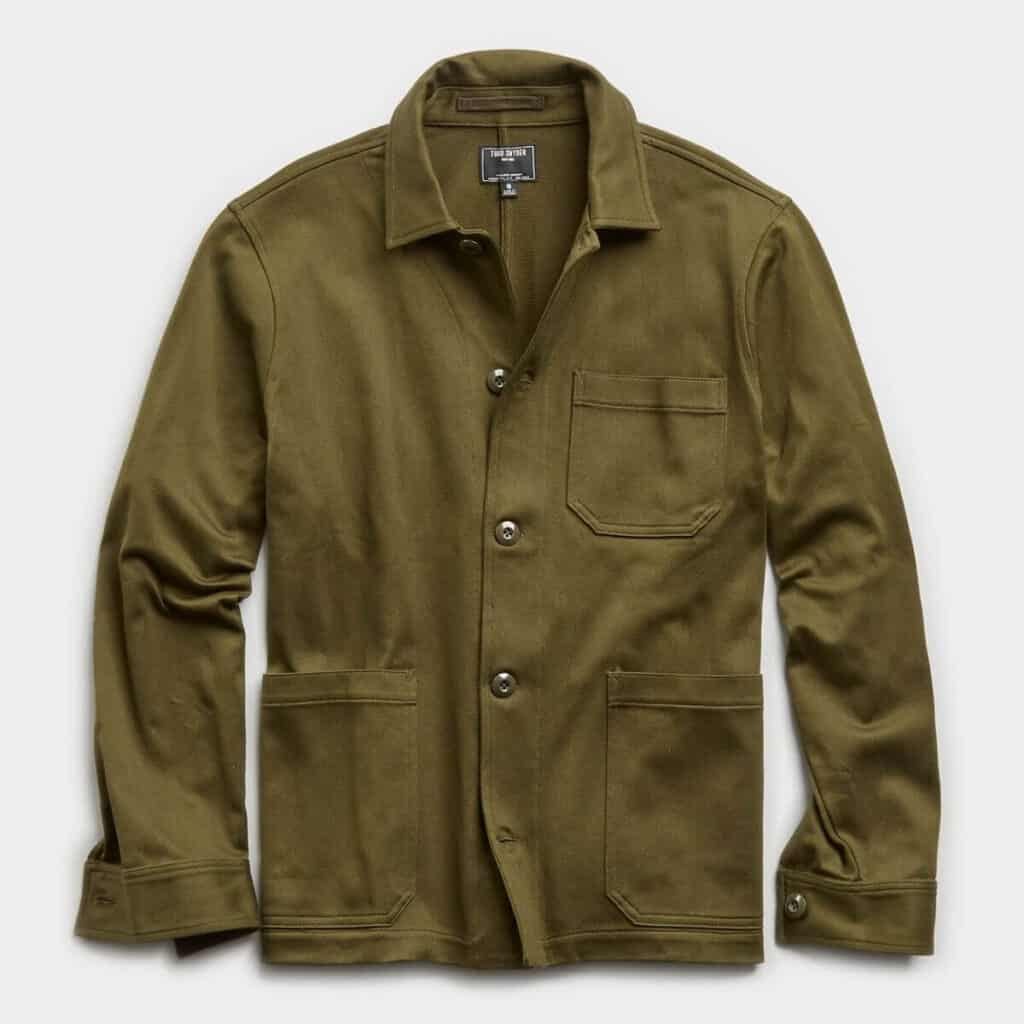 Todd Snyder chore coat in olive green.