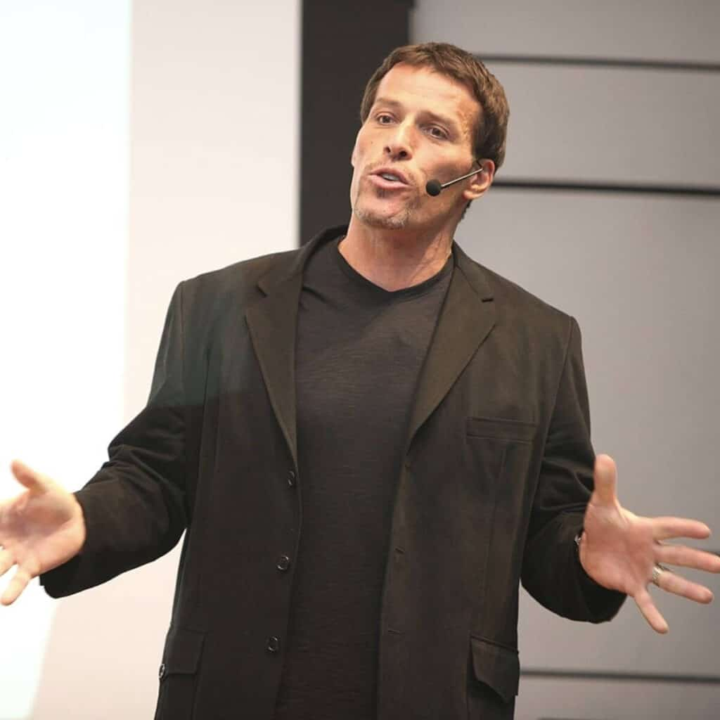 Tony Robbins giving a speech.