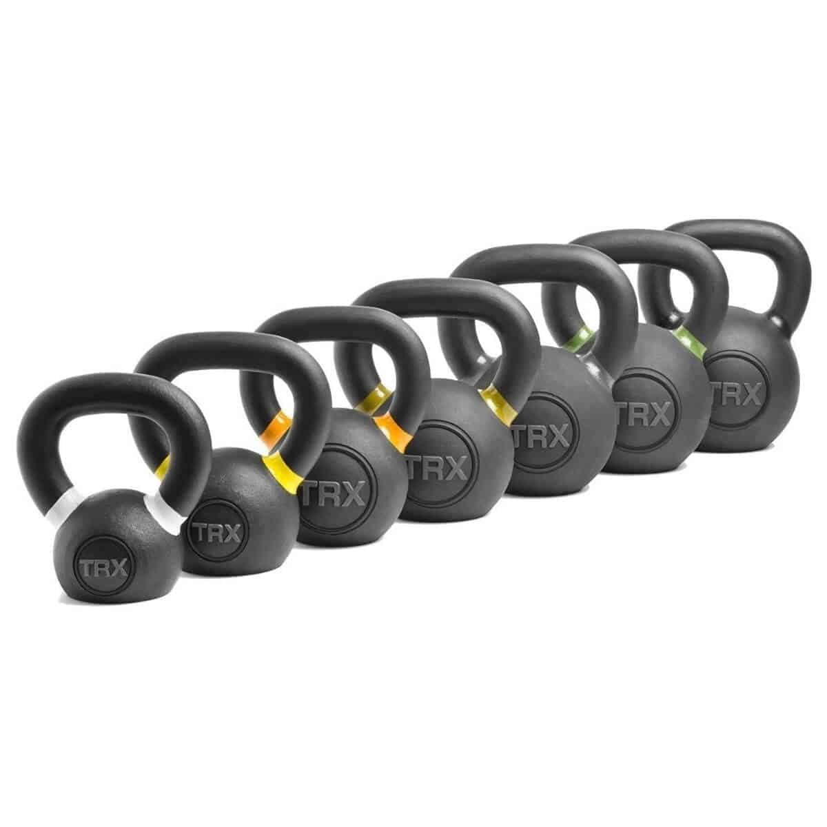 TRX kettlebells from smallest to largest.