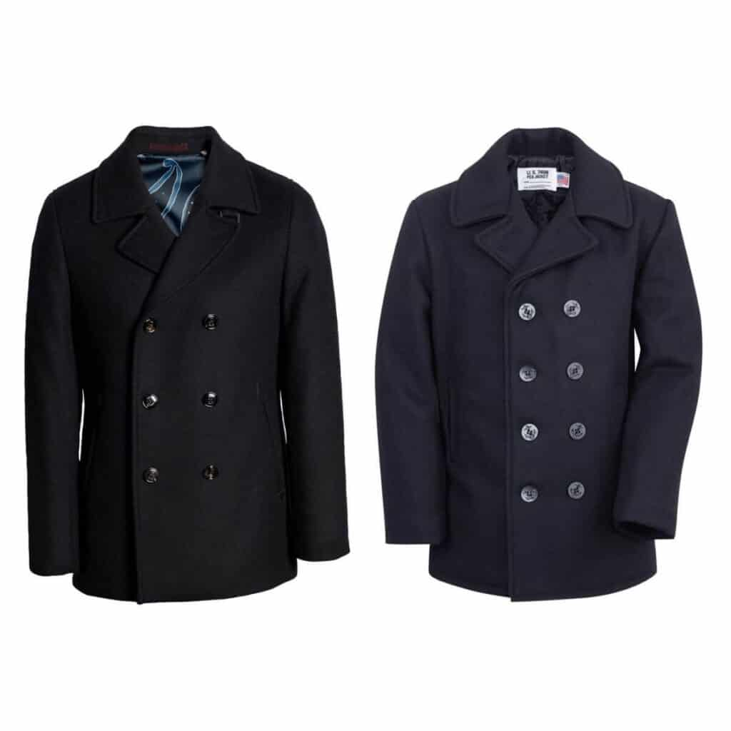 Two peacoats.