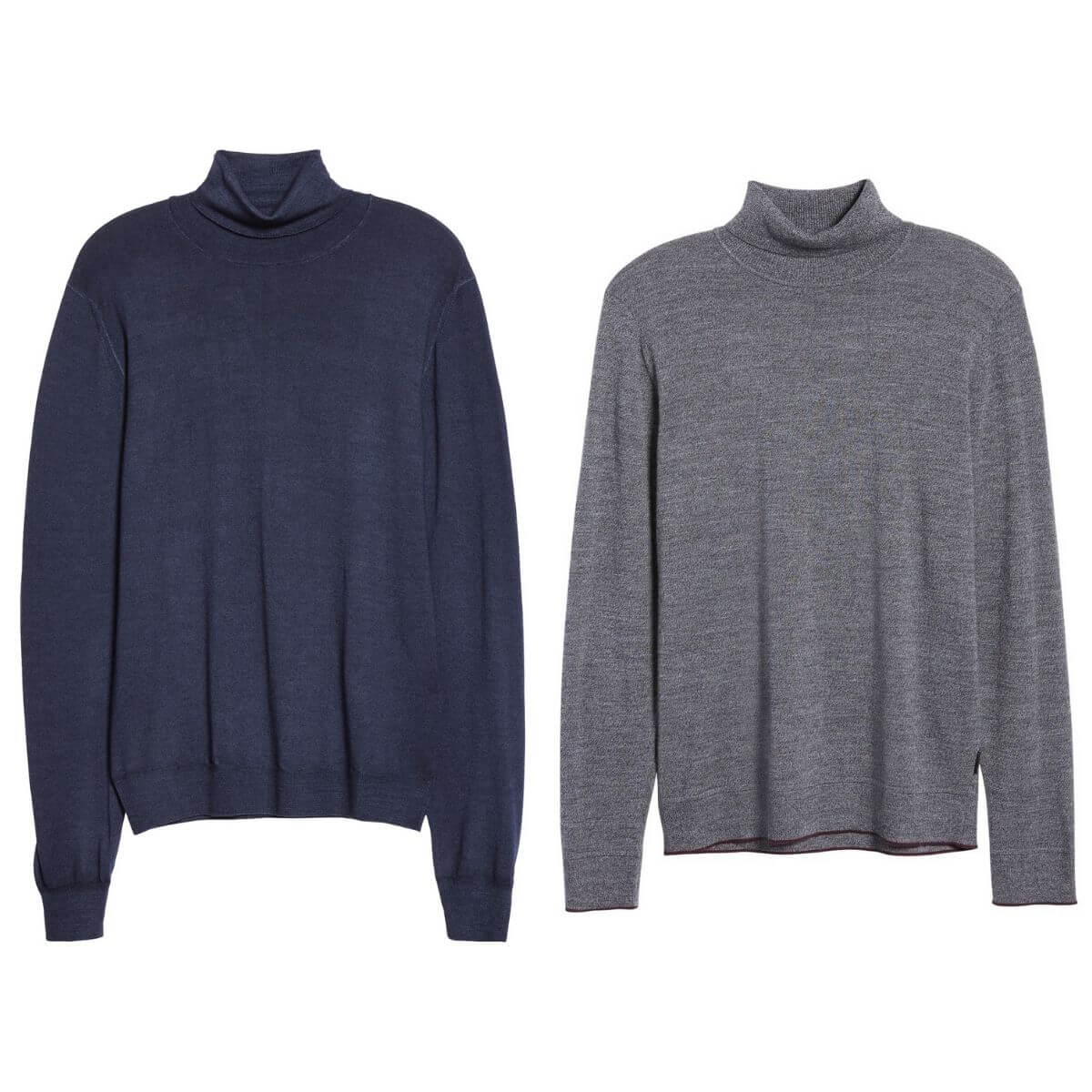 Two turtleneck sweaters, one in navy and one in grey.