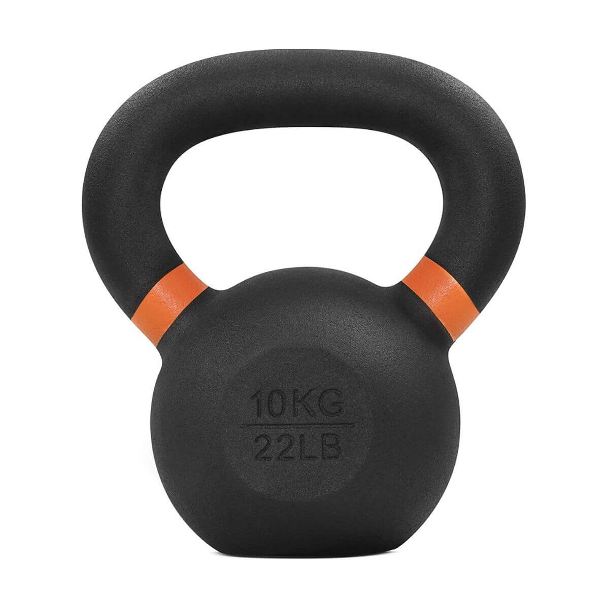 Black cast iron kettlebell with orange rings.