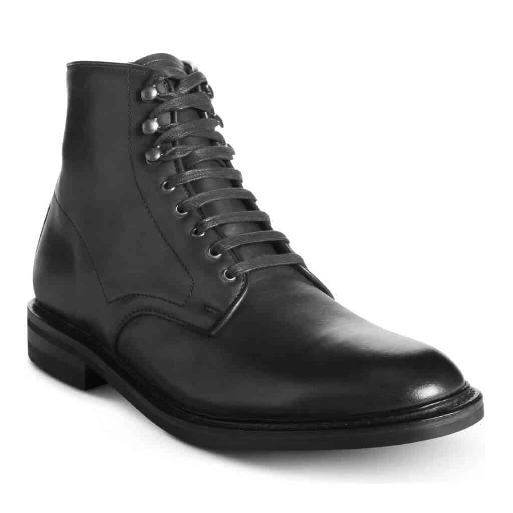 Black leather plain toe lace-up boot.