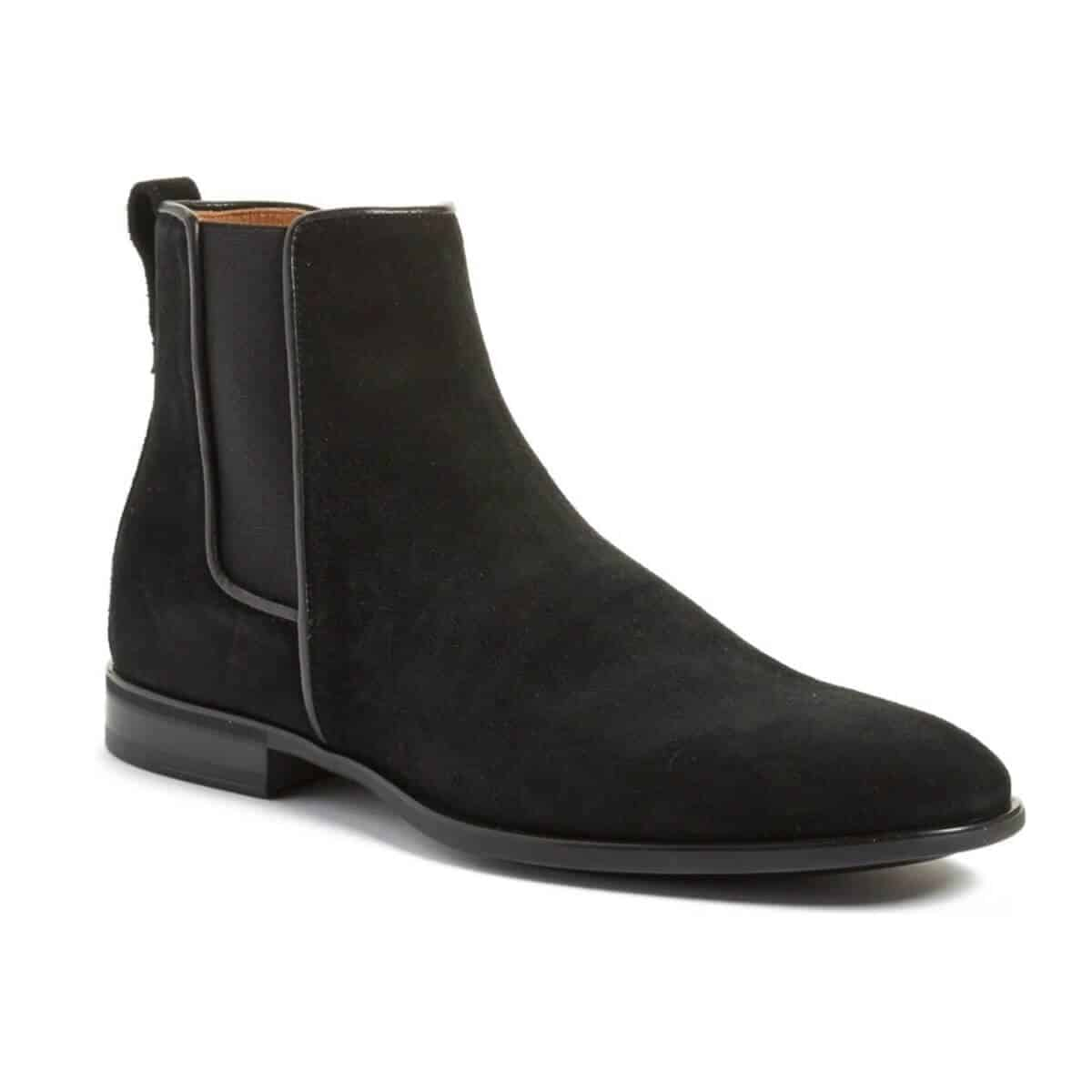 Black suede Chelsea boot.
