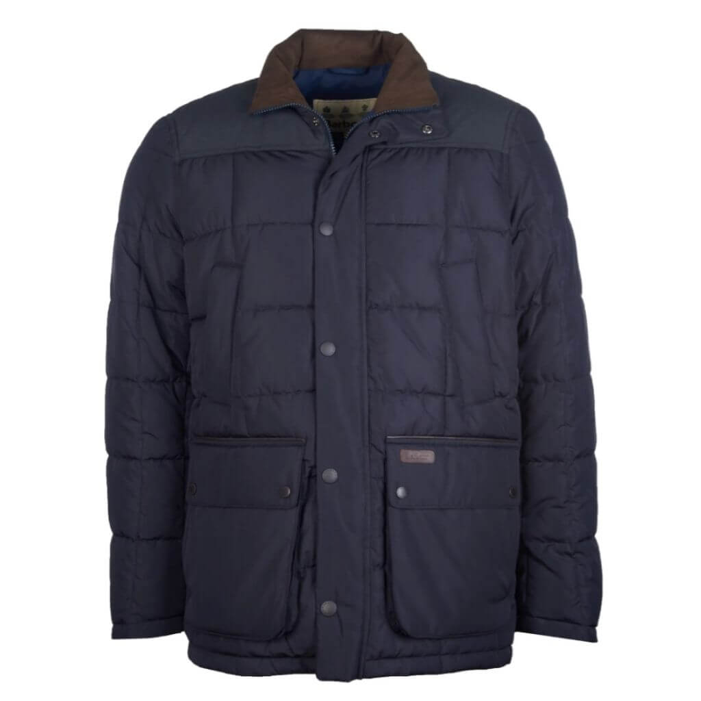 Navy blue quilted puffer jacket.