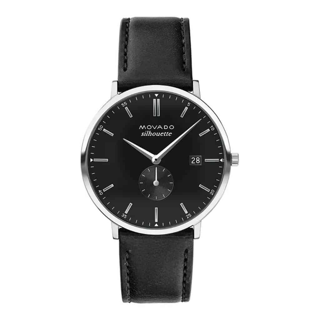 Black Movado Heritage Silhouette watch.