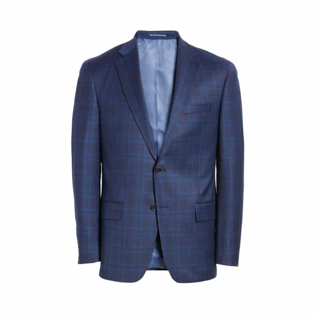 Blue plaid sport coat.