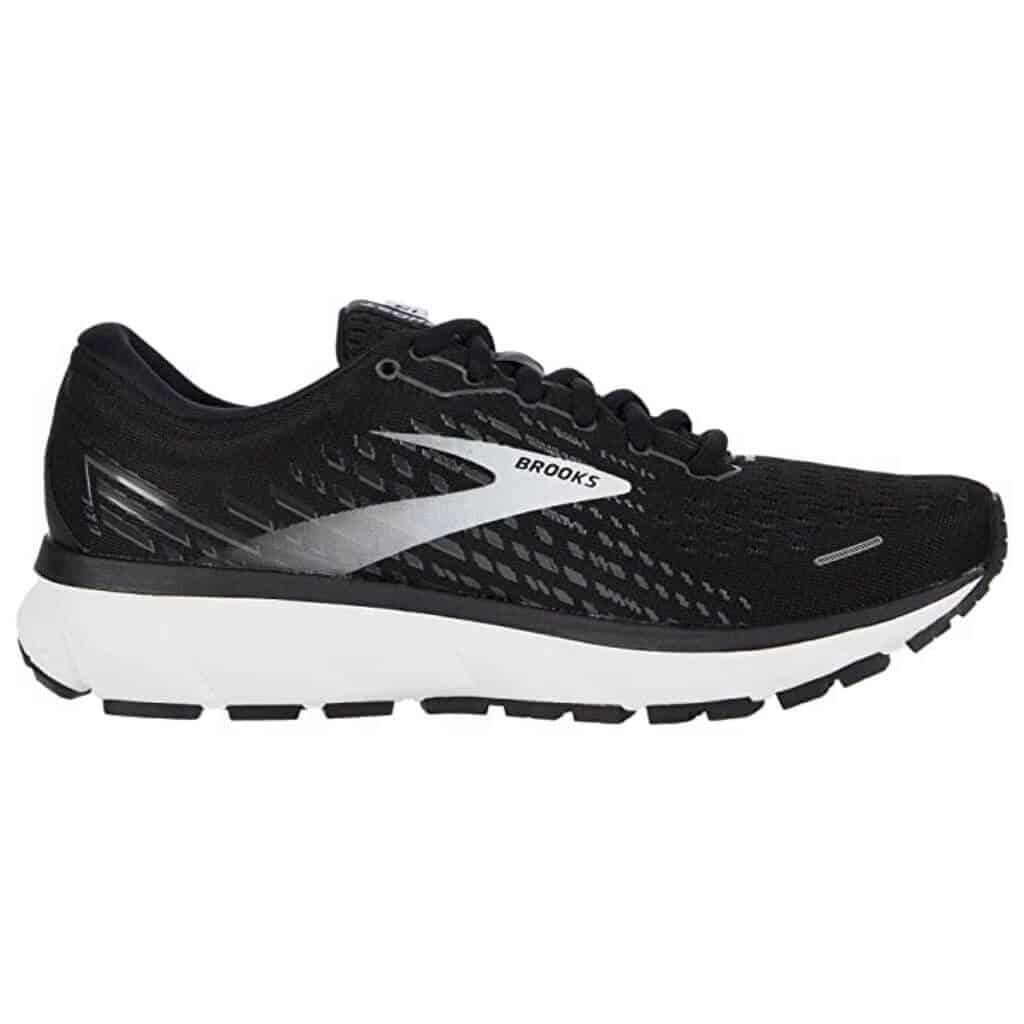 Black and white Brooks Ghost 13 running shoe.