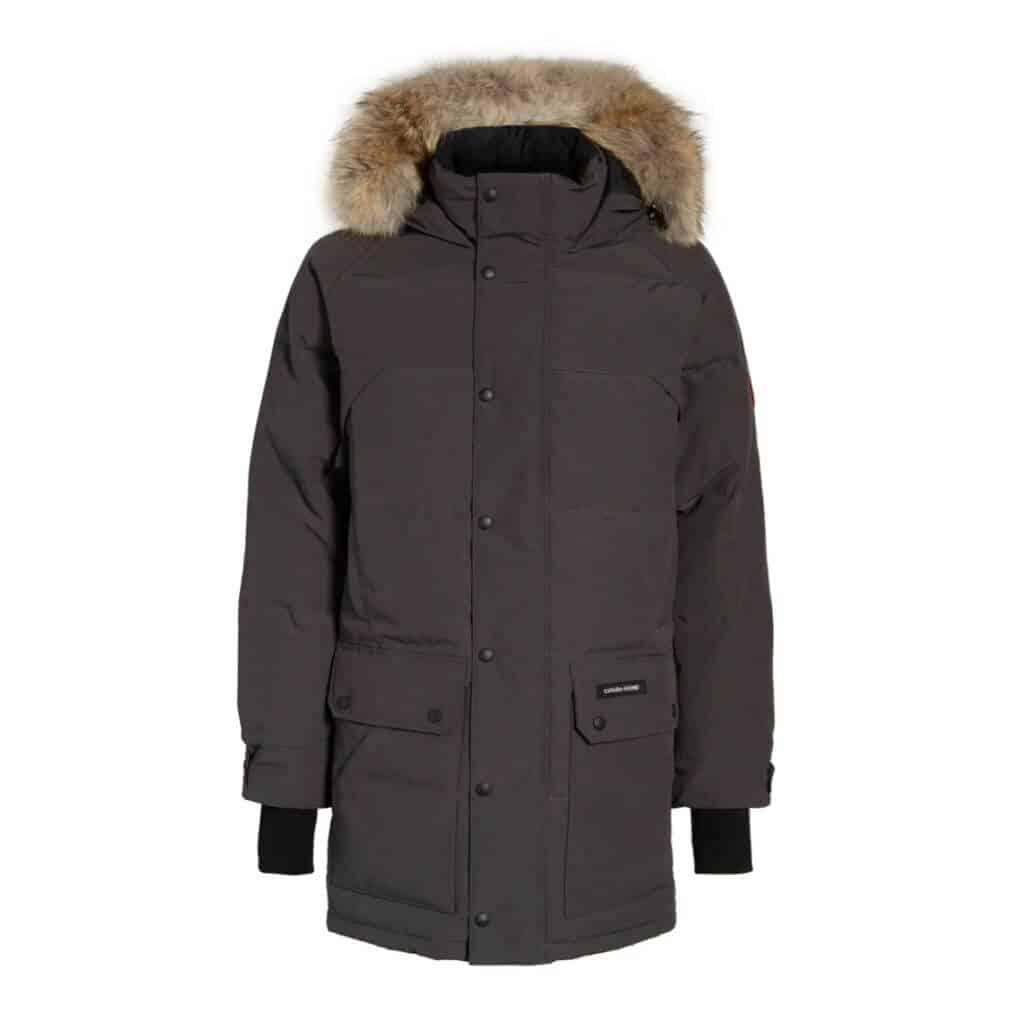 Grey Canada Goose parka with a fur hood.