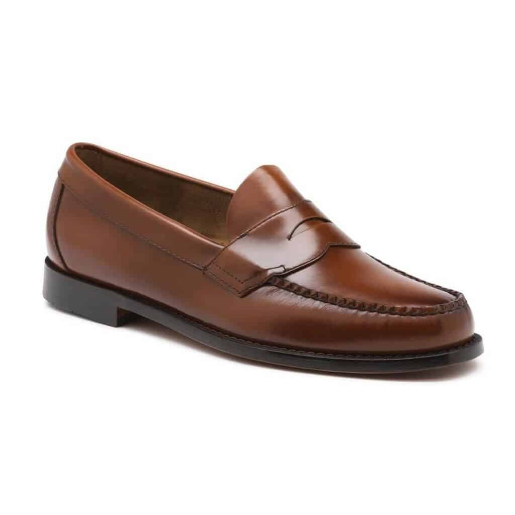 Brown leather penny loafer.