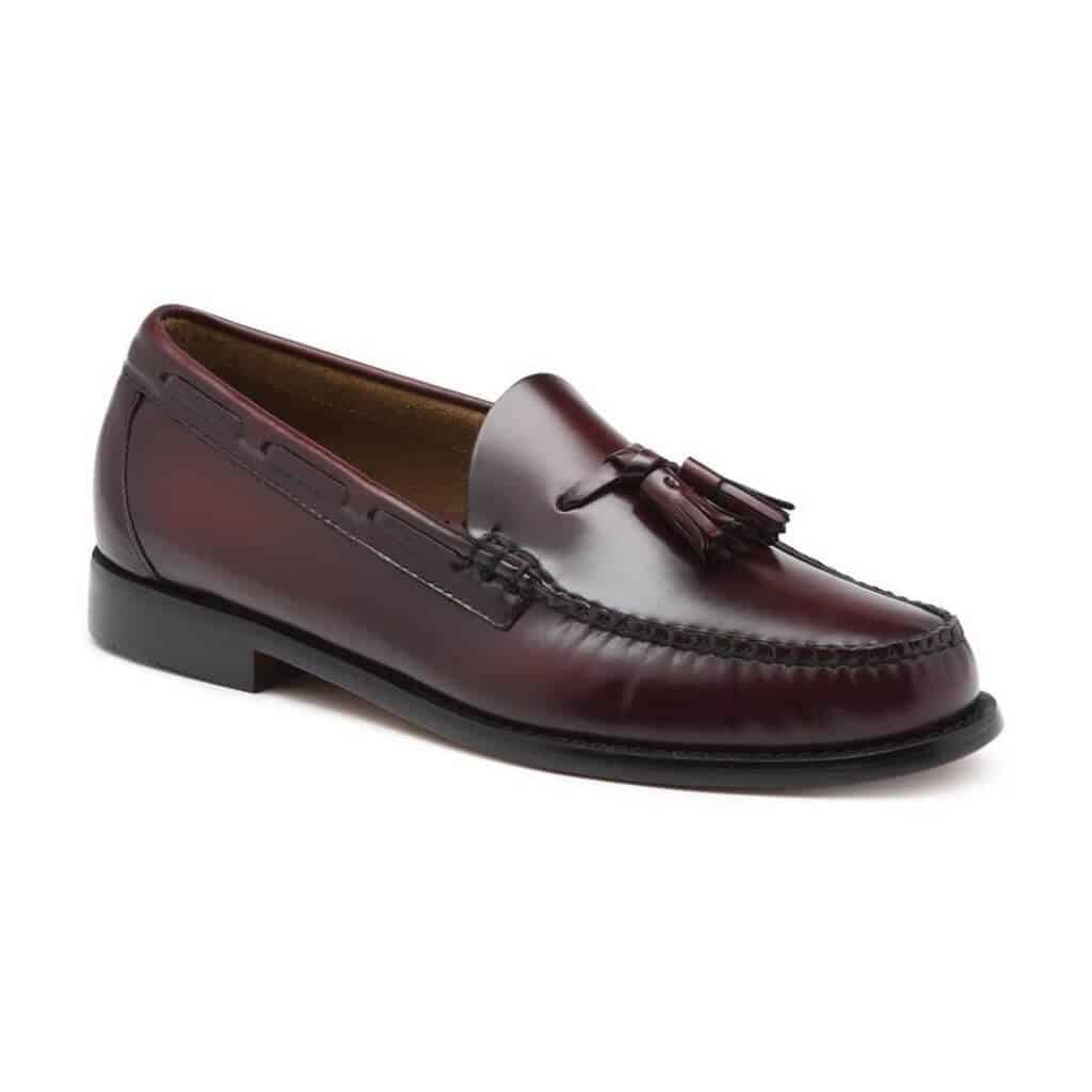Burgundy leather tassel loafer.