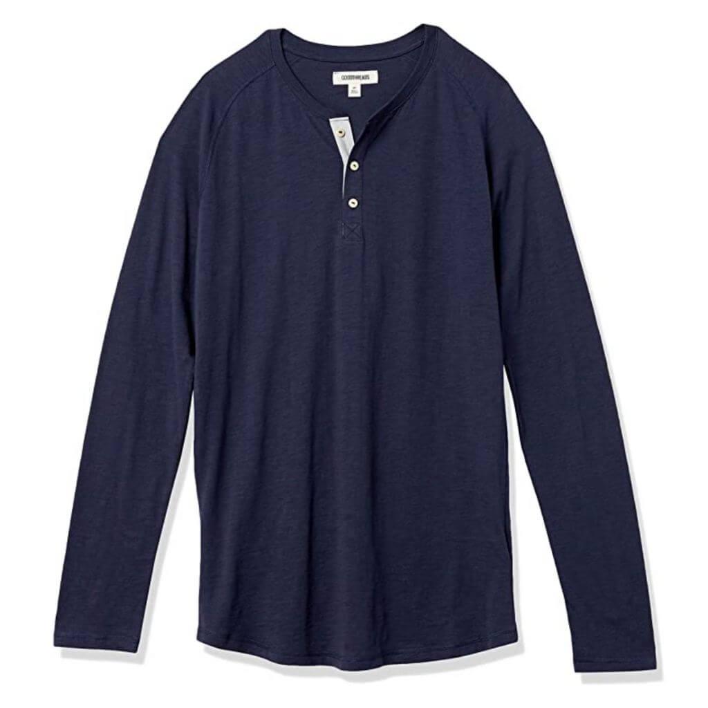 Navy blue henley long-sleeve shirt.