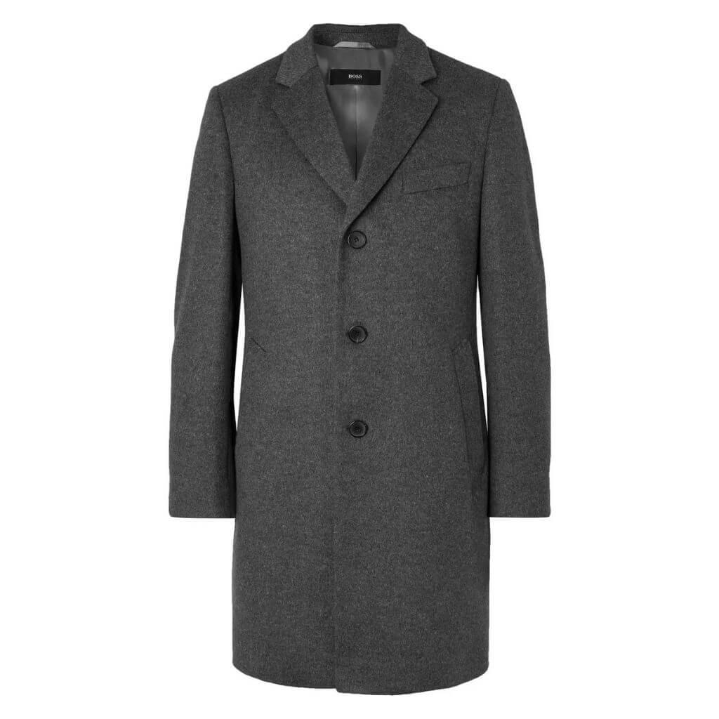 Dark grey Hugo Boss wool and cashmere overcoat.
