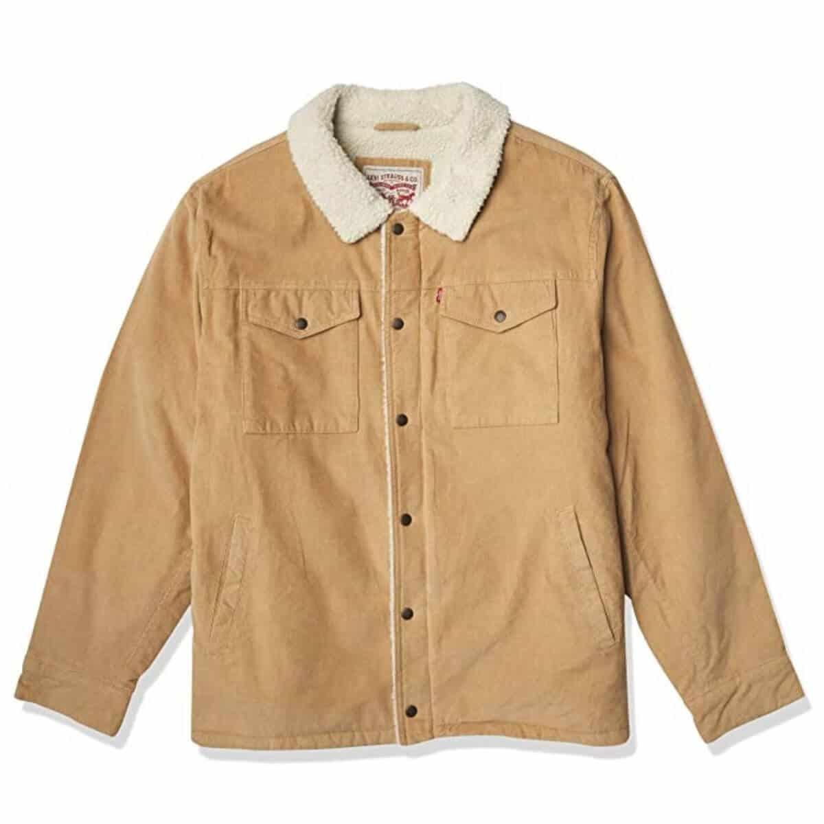 Tan corduroy trucker jacket with sherpa lining.