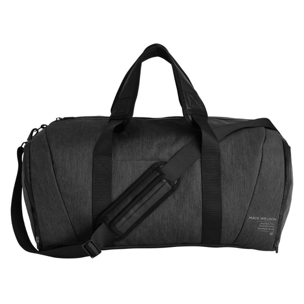 Mack Weldon grey weekender duffel bag.