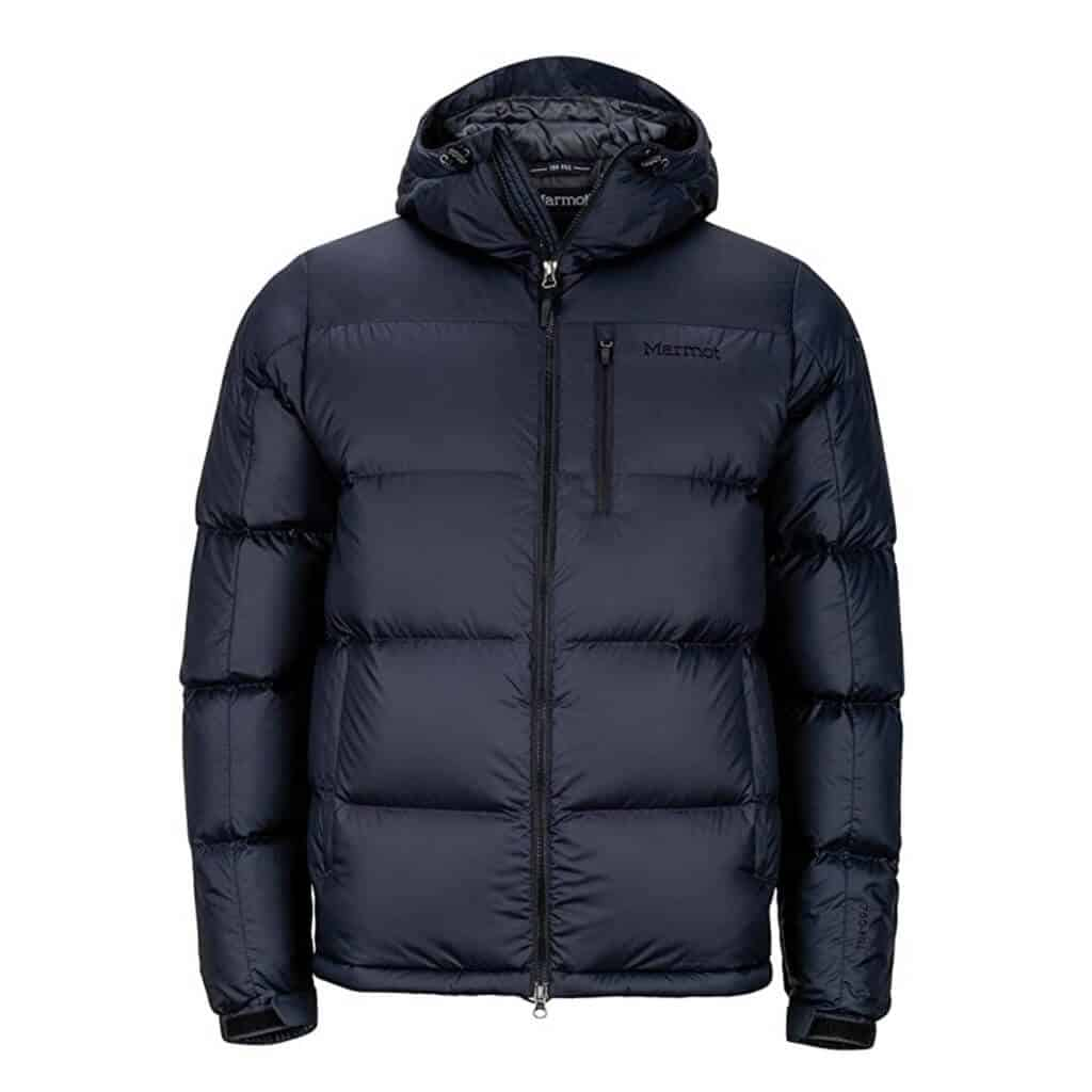 Black Marmot down hooded jacket.