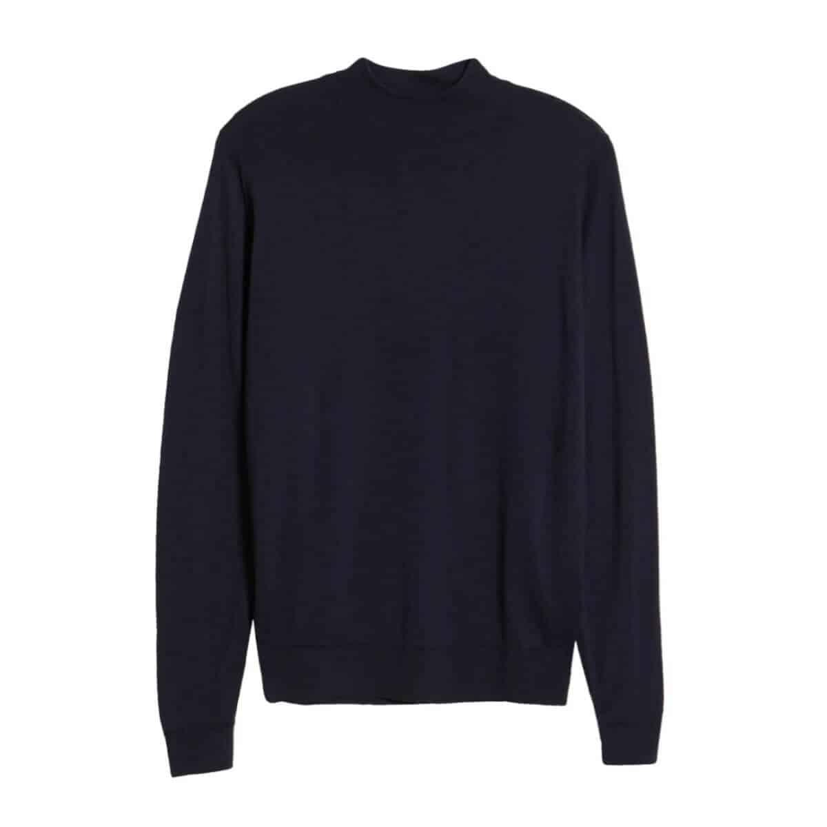 Navy blue wool mock neck sweater.