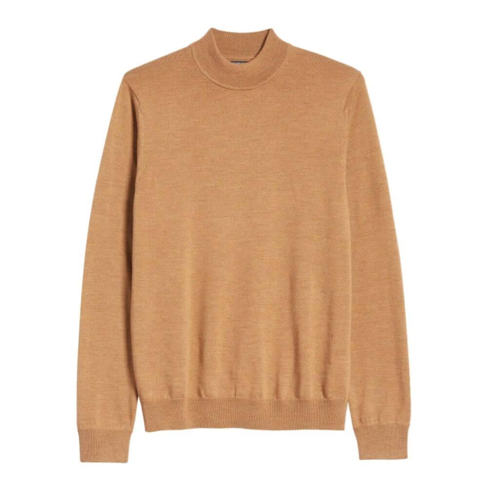 Brown mock neck sweater.