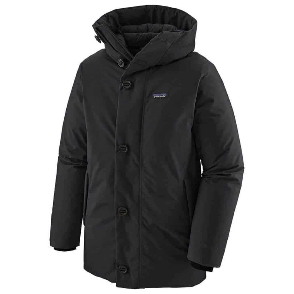 Black Patagonia parka with button closure.