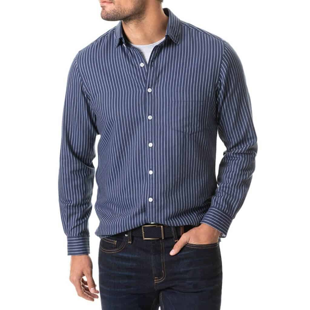 Blue and white striped button-up shirt.
