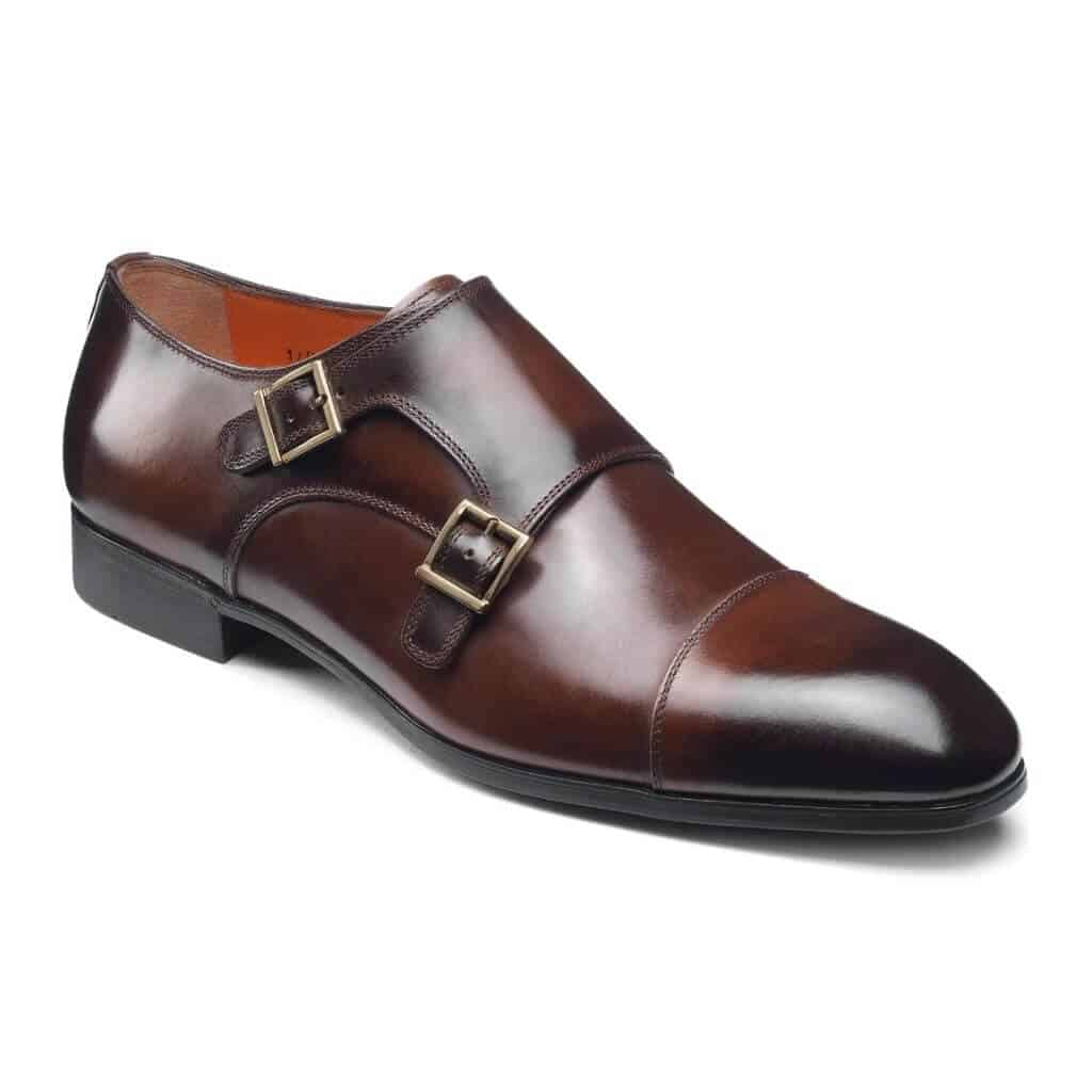 Dark brown double monk strap shoe.