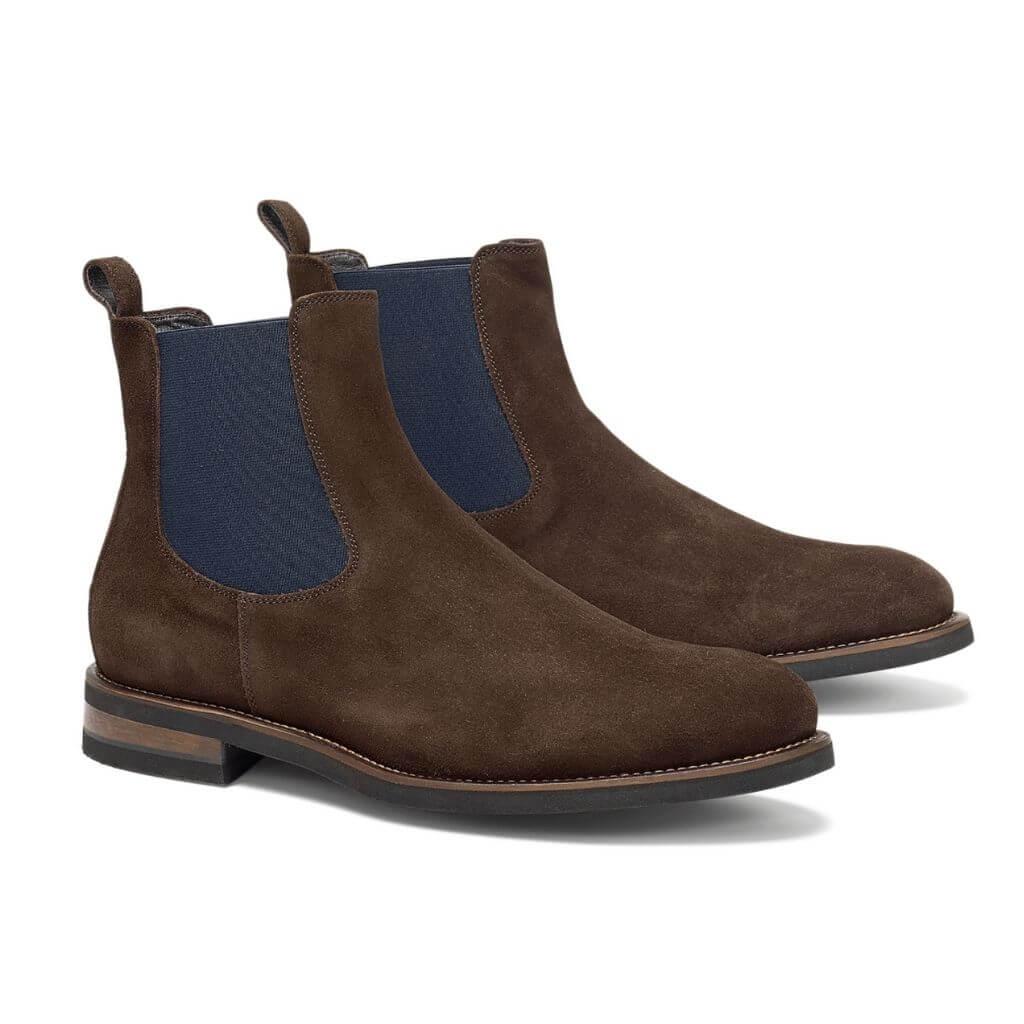 Dark brown suede Chelsea boots.