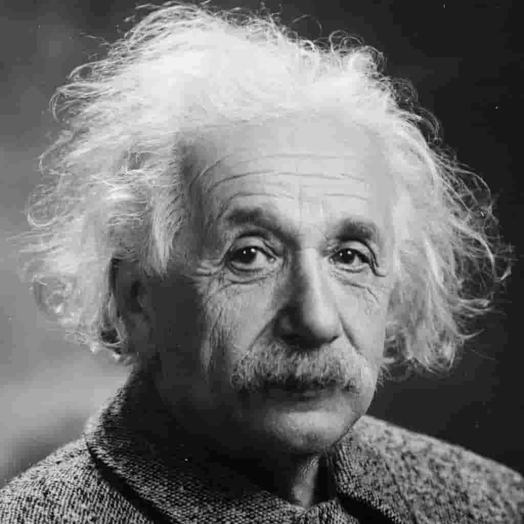 Greyscale portrait of Albert Einstein.