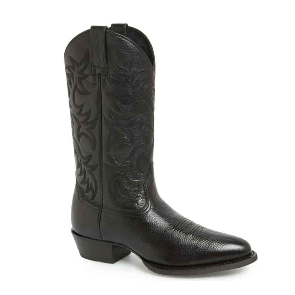 Black leather cowboy boot.