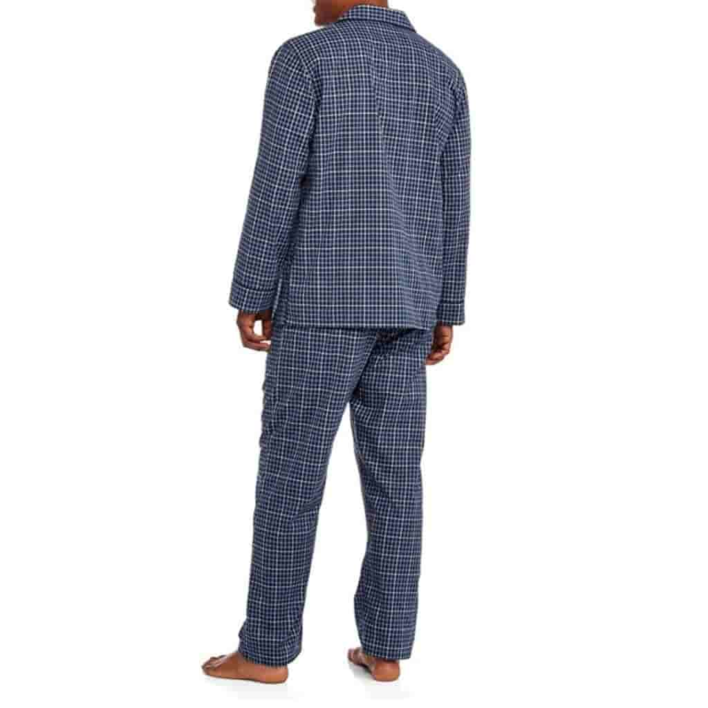 Person wearing blue plaid pajamas facing the other way.