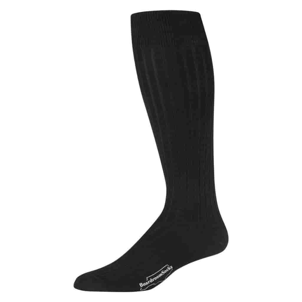 Black merino wool over the calf dress sock.