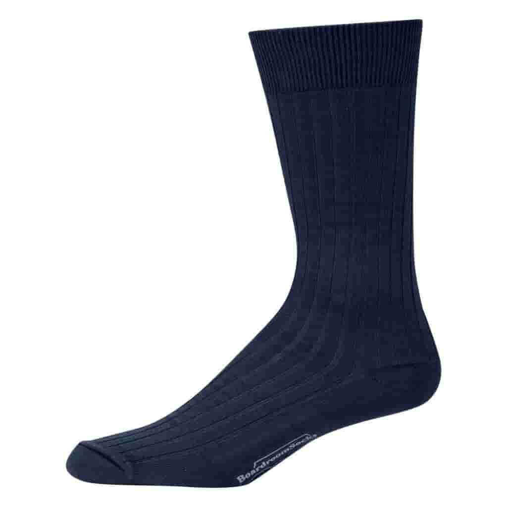 Navy blue mid-calf dress sock.