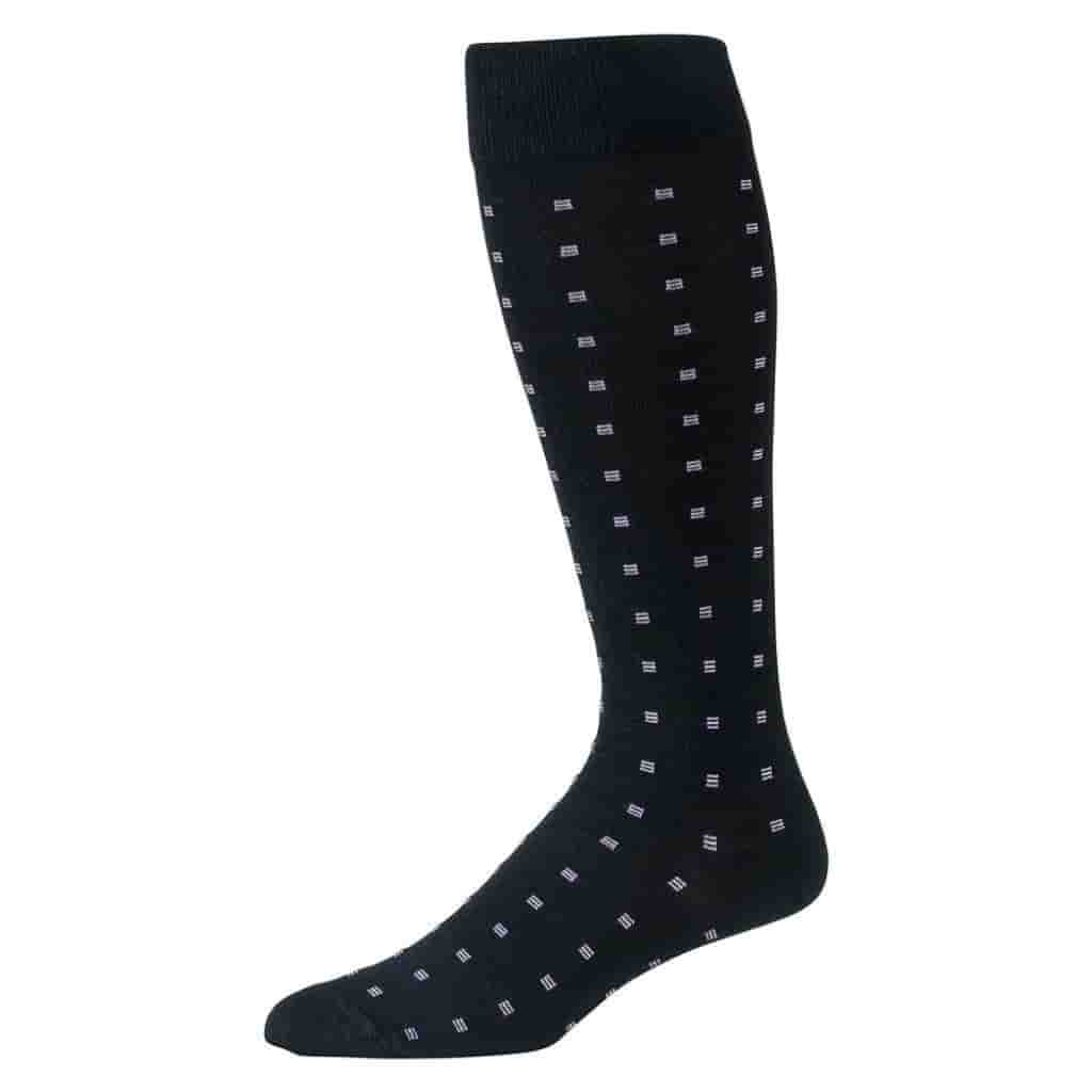 Black over-the-calf socks with small purple squares on it.