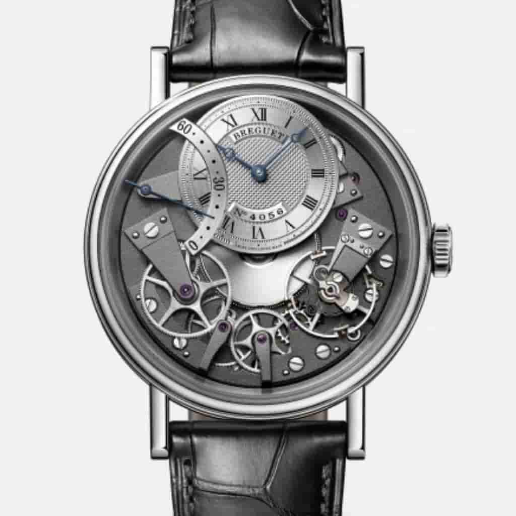 Breguet Tradition 7097 watch with a black leather strap.