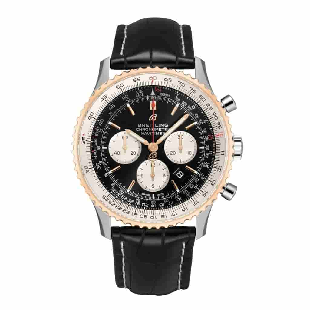 Breitling Navitimer B01 watch with a black leather strap.