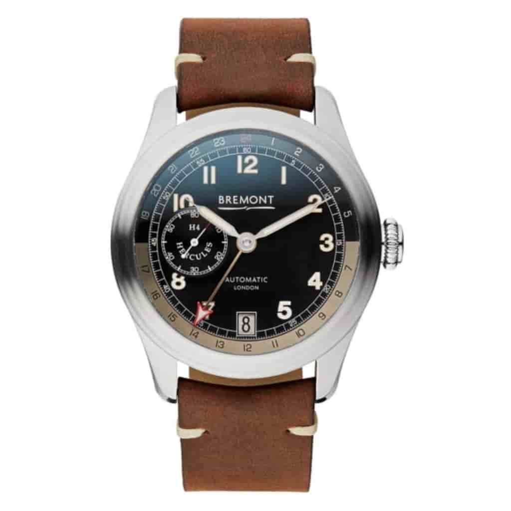 Bremont Hercules watch with a brown leather strap.